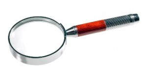 Magnifier on white background (isolated with path).